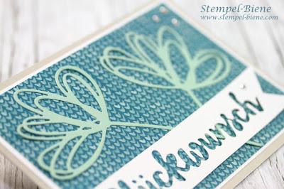 Stempelnd durchs Jahr; Stempel-Biene; Blumenkarte; Stampinup Stempelpartykarte; Stampin Up Blog; Grüße voller Sonnenschein; Glückwunschkarte