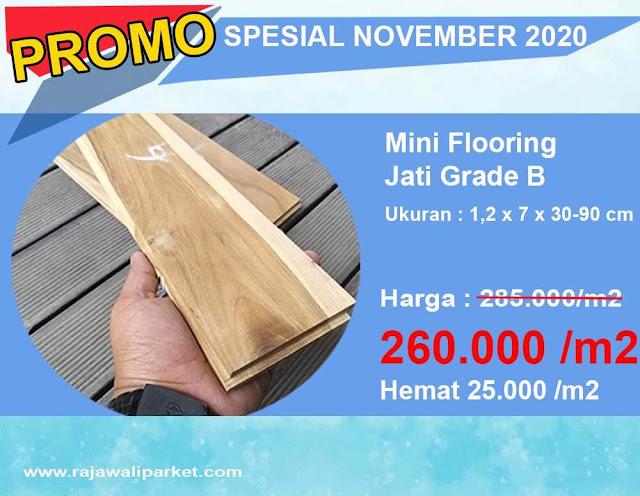 Promo lantai kayu murah mini Flooring jati grade B
