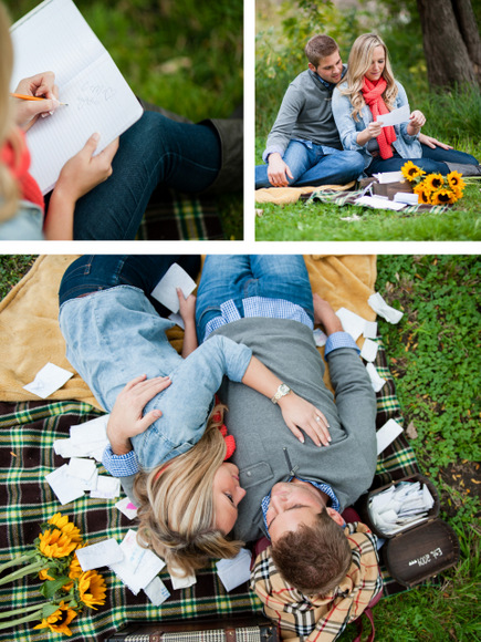 Casey and Finn's engagement pictures featured their love notes from younger years