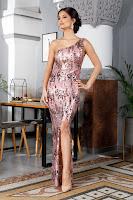 Rochie de ocazie rose cu aplicatii din paiete