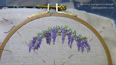 Embroidered wisteria using new set of colours with better shading.