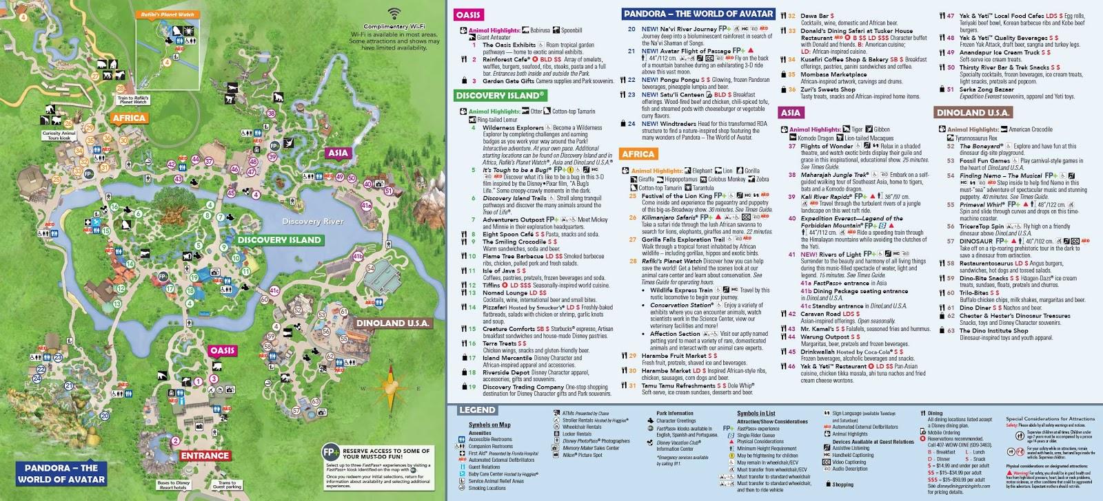 Mapa do Parque Disney Animal Kingdom em Orlando | Dicas da