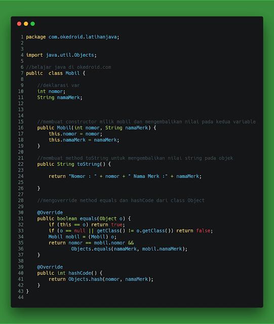 Contoh Code class mobil dengan definisi fungsi method override hashcode and equals di java