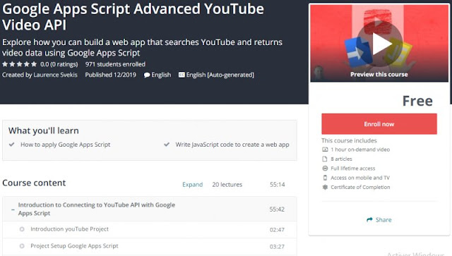 [100% Free] Google Apps Script Advanced YouTube Video API