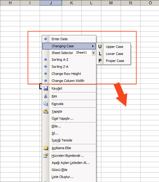 excel right click shortcut