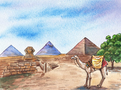 Pyramids Of Giza Egypt Watercolor Sphinx And Camel Watercolor Painting by the artist Irina Sztukowski