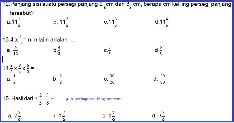 Soal UTS Genap Matematika Kelas 5 Semester 2 KTSP Kurikulum 2006  Kumpulan Soal KTSP