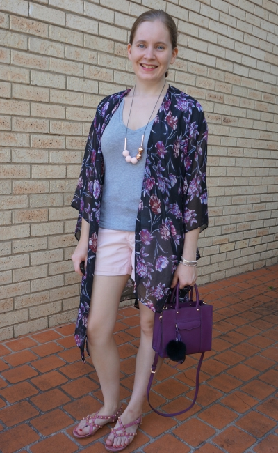 Target Karolina summer kimono in purple black floral with grey tee blush shorts purple mini MAB bag summer style | awayfromblue