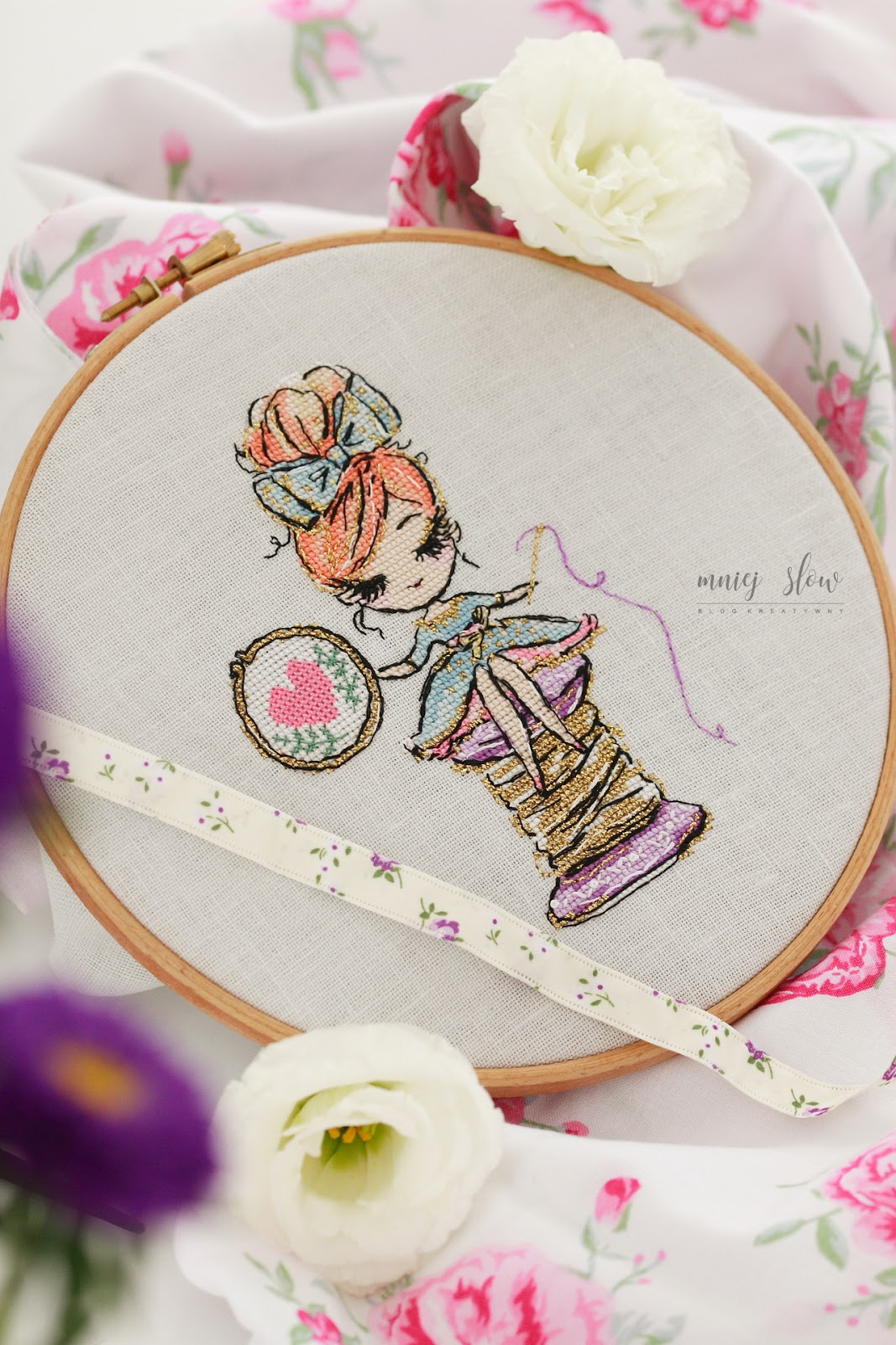 The girl and embroidery hoopps - Maria Demina (@LittleRoomInTheAttic)