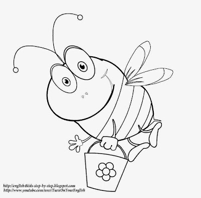 cute cartoon bee coloring page