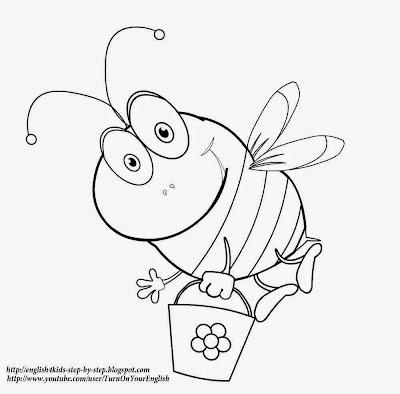 cute cartoon bee coloring page