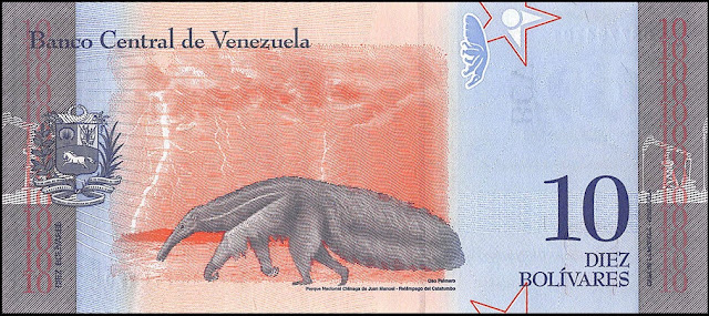 Venezuela Currency 10 Bolivares Soberanos banknote 2018 Giant anteater