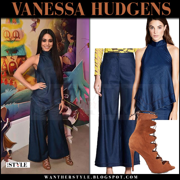 Vanessa Hudgens in blue denim top, blue denim pants manning cartell and brown suede sandals what she wore march 2017
