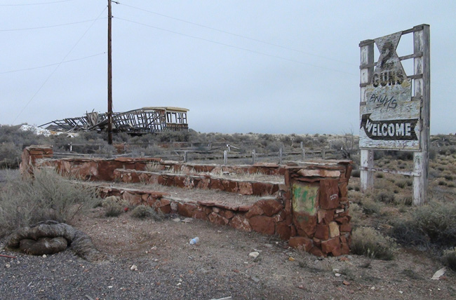 Abandoned campground at Two Guns, Arizona ghost town