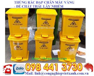 thùng rác đpạ chân màu vàng