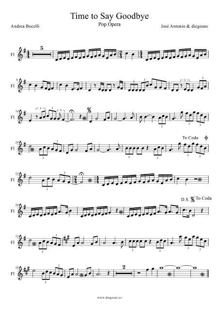 Partitura de Time To Say Goodbye para Flauta Dulce y Travesera Hora de decir Adios (Timeless) de Sarah Brightman, Andrea Bocelli y José Cura Alto Flute Sheet Music Time To Say Goodbye music score. Puedes tocar la partitura con la música del vídeo