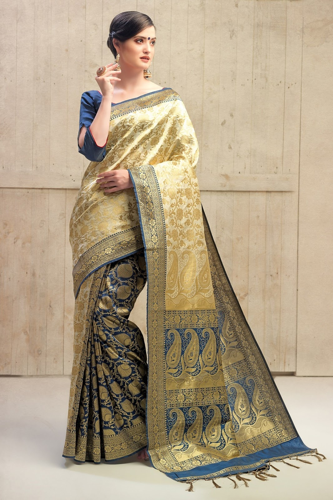 78c36855ce7754 The most loved saree of all time in Tamil Nadu is the elegant Kanchipuram  silk saree. Its uniqueness rests on its colour contrast and use of designs  that ...