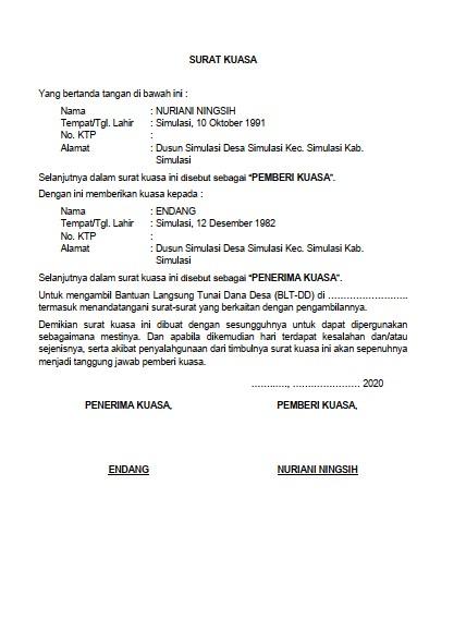 Contoh Surat Kuasa Pengambilan BLT (via: formatadministrasidesa.blogspot.com)