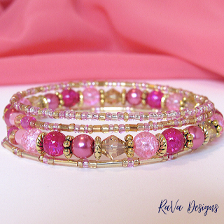 handmade bracelets pink and gold glass beads pattern ideas