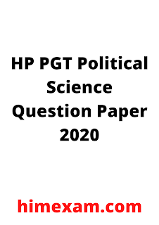 HP PGT Political Science Question Paper 2020