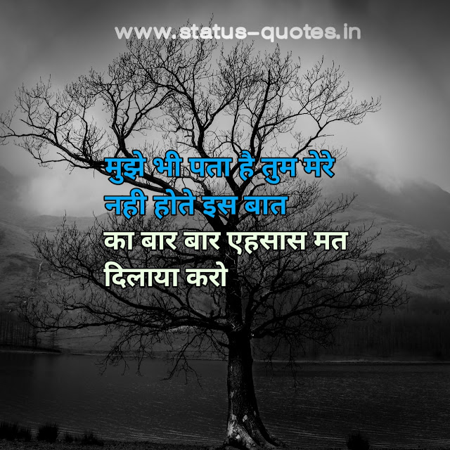 मुझे भी पता है तुम मेरे नही होते इस बात  का बार बार एहसास मत दिलाया करोSad Status In Hindi | Sad Quotes In Hindi | Sad Shayari In Hindi