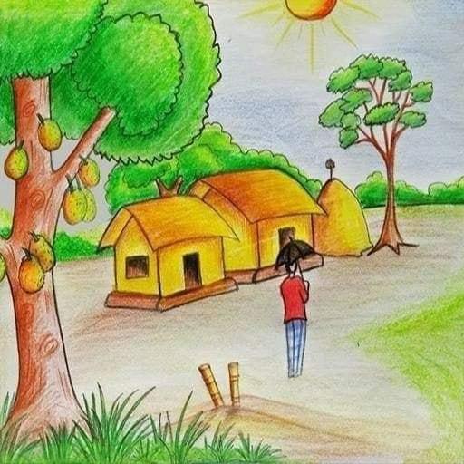 Contoh Gambar Pemandangan Orang dan rumah di Kampung