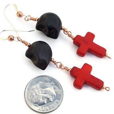 skulls and crosses earrings for women