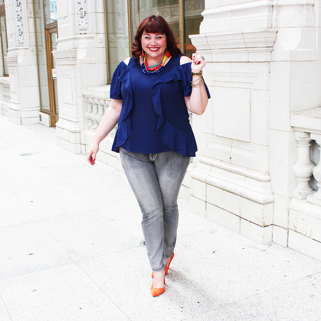 Chicago Plus Size Blogger Amber from Style Plus Curves in Kiyonna Flawless Flounce Top, Cold Shoulder Top, Ruffle