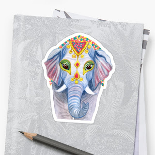indian holi elephant sticker