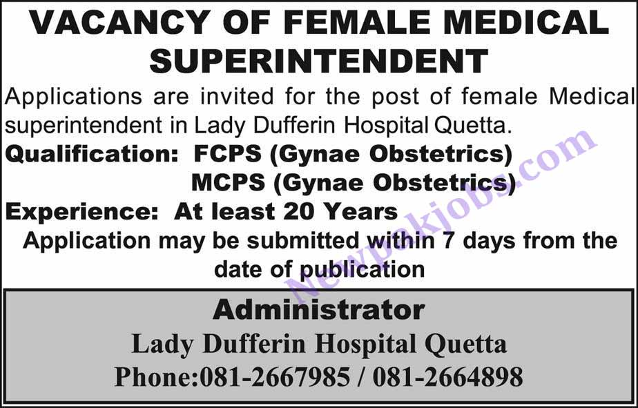 Lady-Dufferin-Hospital-Quetta-01-Nov-2018-jobs