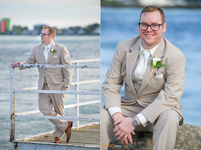 Groom Port Huron Harbor Wedding Photography SudeepStudio,com Ann Arbor Wedding Photographer