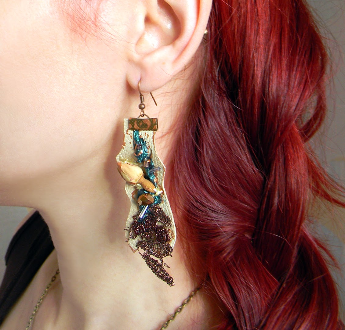 Dangle Leather Earrings in Eco Chic and Fancy Rustic Style with Organic Rose and Brown Copper Embroidery Applique