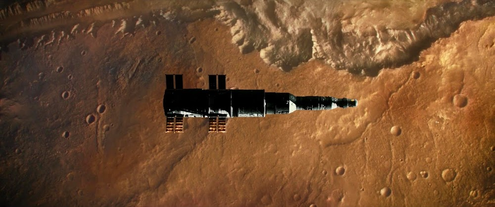 Spaceship over Valles Marineris on Mars - image from Ad Astra movie