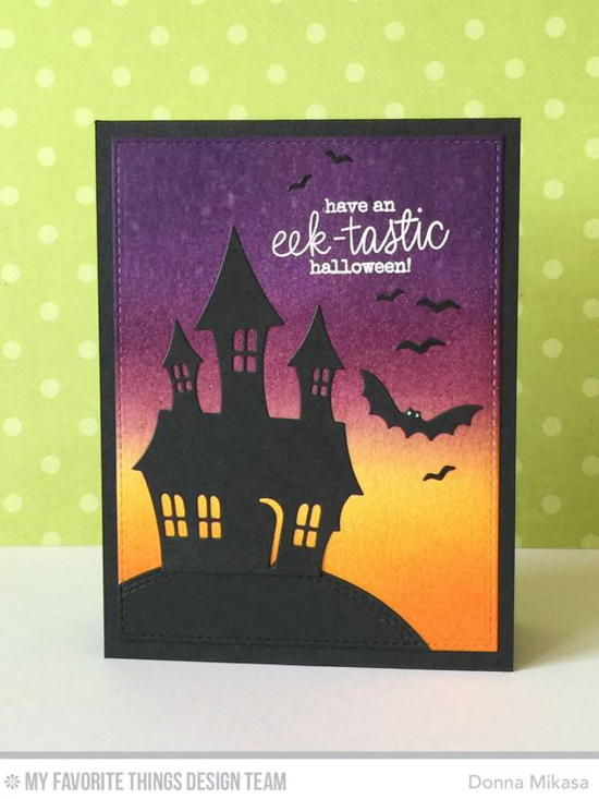 Handmade card from Donna Mikasa featuring Frightfully Fun Halloween stamp set and Spooky House Die-namics #mftstamps