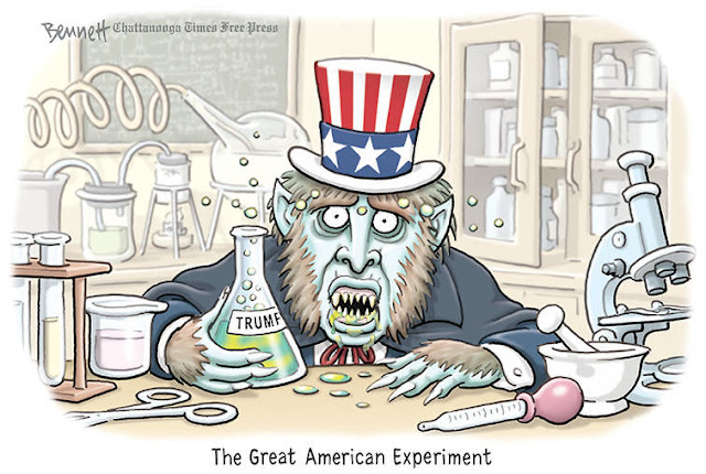 Caption:  The Great American Experiment.  Image:  Uncle Sam as Dr. Jekyll drinking elixir labeled