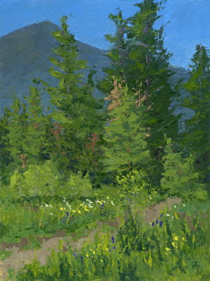 art painting landscape spring nature mountains