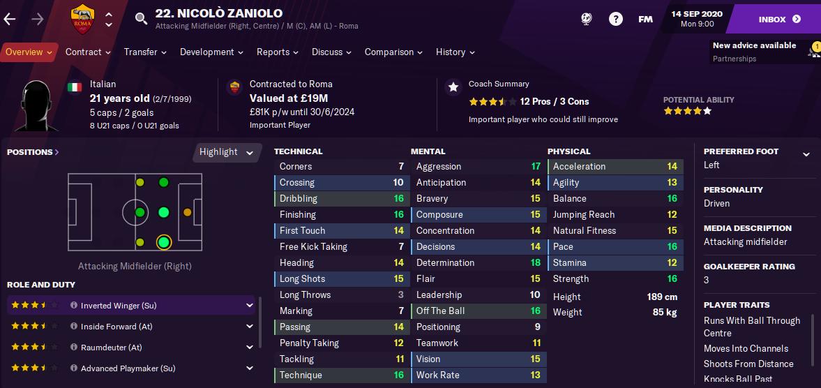 FM21 Nicolo Zaniolo