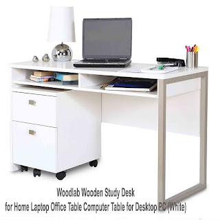 Woodlab Wooden Study Desk for Home Laptop Office Table Computer Table for Desktop PC (White)