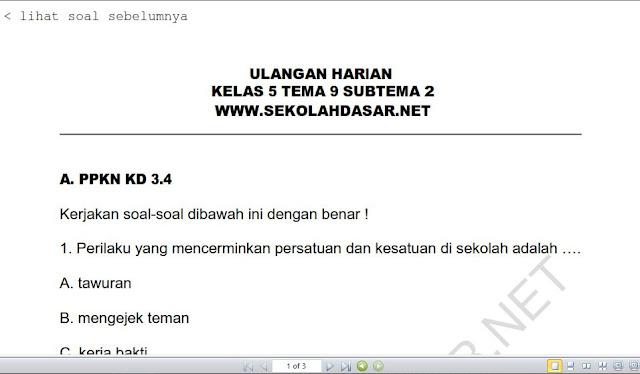 Soal Ulangan Harian K-13 Kelas 5 Tema 9 Subtema 2