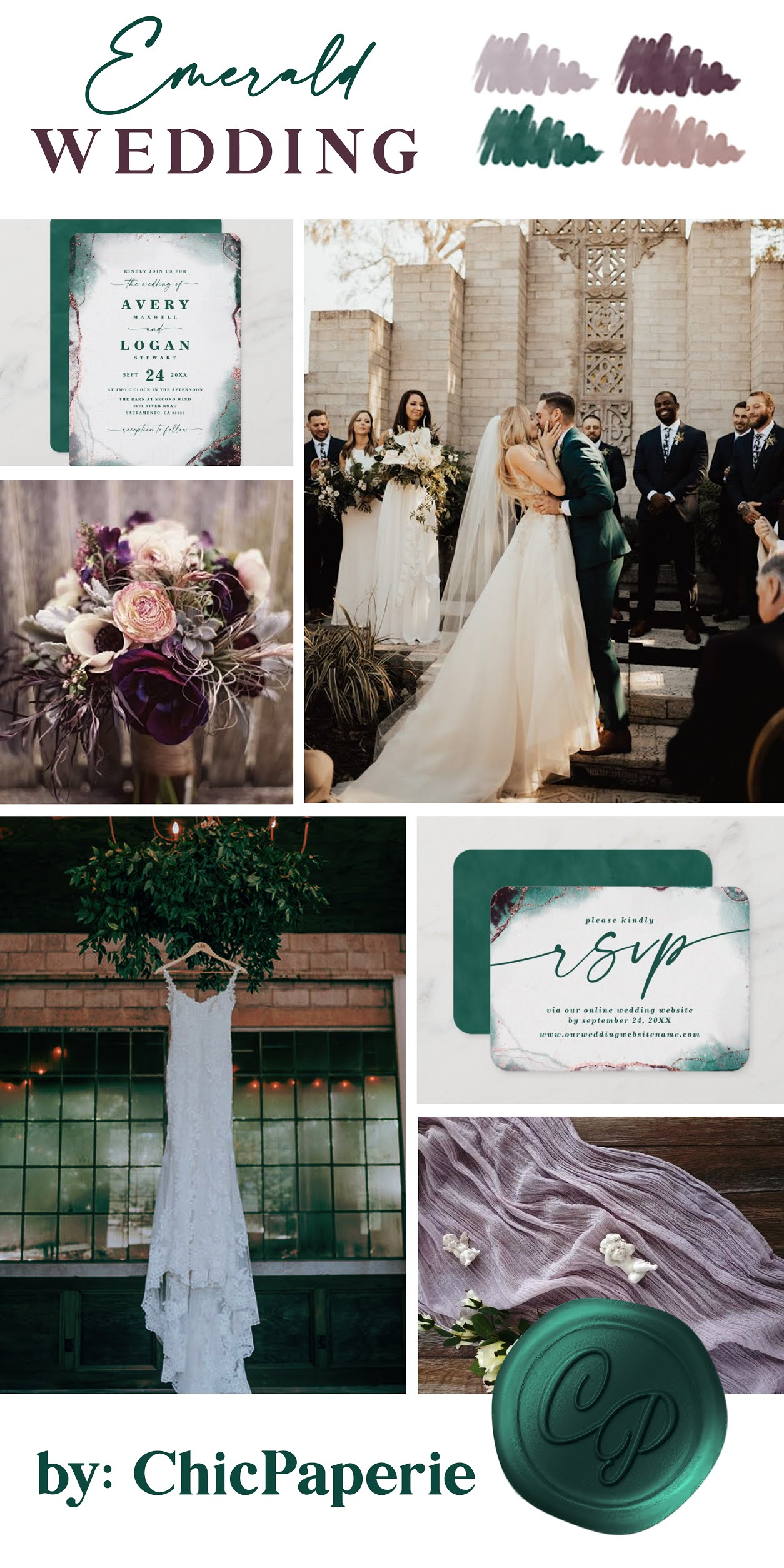 Emerald Abstract Wedding Invitations, Wedding Day Photo, Floral Arrangement, Wedding Dress, Mauve Table Runners, and RSVP Cards