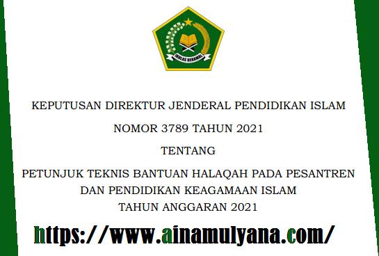 Juknis Bantuan Halaqah Pada Pesantren Dan Pendidikan Keagamaan Islam Tahun 2021