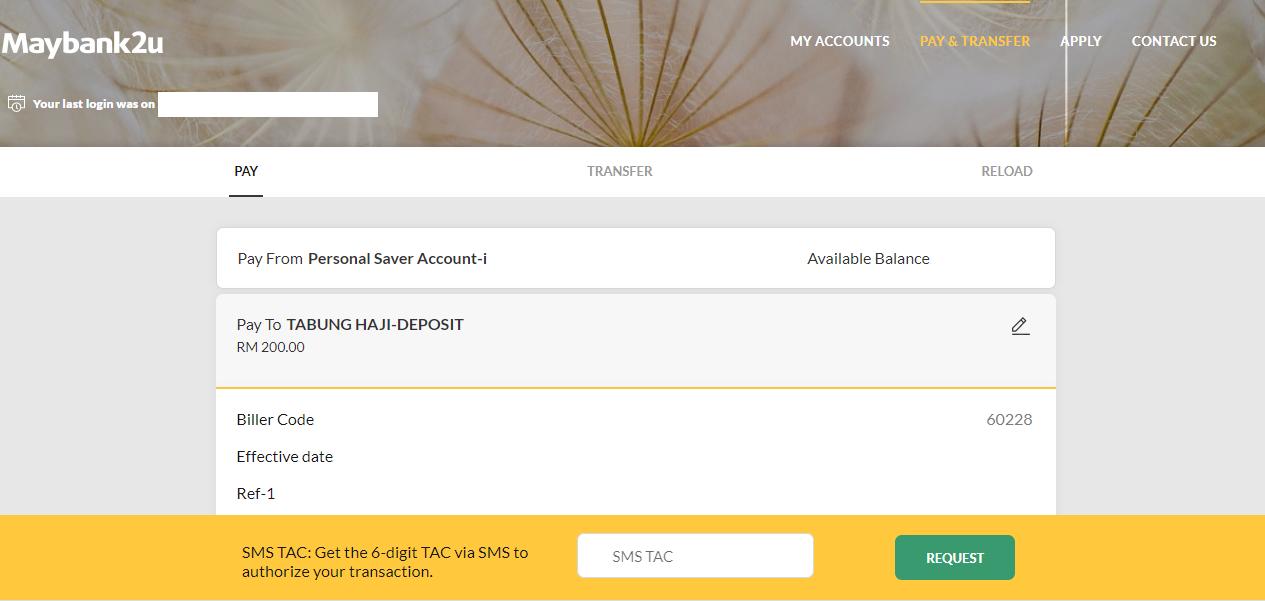 Cara Mudah Deposit Simpanan Tabung haji Guna JomPay Melalui Maybank2U