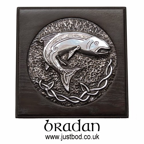 Salmon of Knowledge sculpted metal and oak plaque