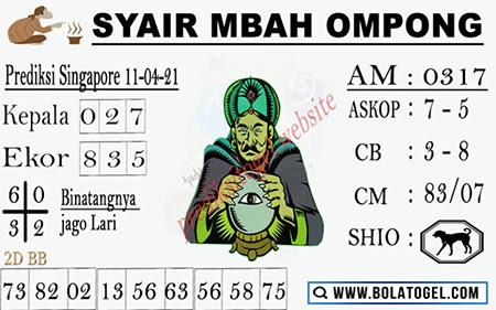 Syair Mbah Ompong SGP Minggu 11-Apr-2021