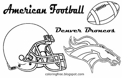 Denver Broncos printable American team football coloring book pages for boys US sport games
