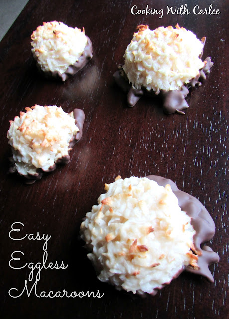 large egg free coconut macaroons with chocolate on the bottom