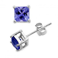 Princess Tanzanite Stud Earrings