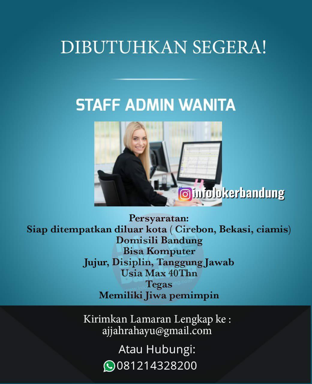 Lowongan Kerja Staff Admin Wanita Mei 2019