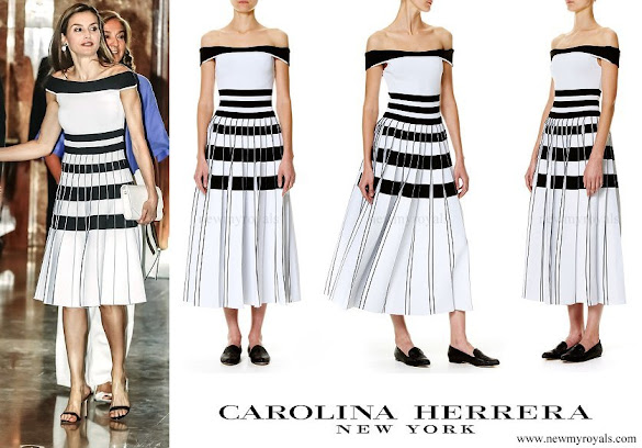 Queen Letizia wore Carolina Herrera Striped Off-The-Shoulder Knit Dress
