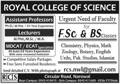 Royal College of Science RCS Jobs In Pakistan 2021 - Royal College of Science RCS Narowal Jobs 2021 - Online Apply In RCS Jobs :- rcs.nwl@gmail.com